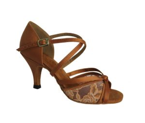 Dark Tan Women′s Latin Dance Shoes with Mesh Upper pictures & photos