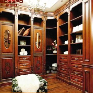 Walk in Carved Armoires Wood Closet Wardrobe with Drawers (GSP17-025) pictures & photos