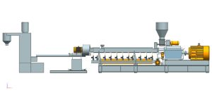 Twin Screw Extruder, Plastic Extruder, High Screw Speed 600rpm, Output: 250-500kgs/H, Motor: 75-90kw pictures & photos