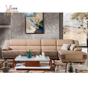 Modern Wooden Leisure Leather Sofa (1603A+52)