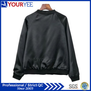 Fashion Stand Collar Baseball Satin Womens Bomber Jacket (YBJ114) pictures & photos