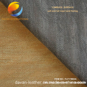 Nice Pattern of Artificial Leather for PU Shoe Upper with Yumbuck Surface pictures & photos