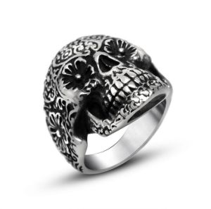 Rock and Roll Skull Ring Matte Black Stainless Steel pictures & photos