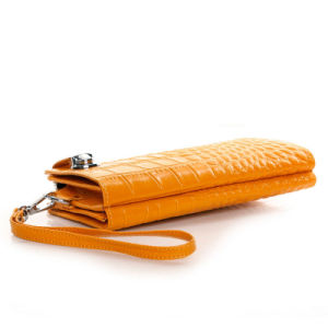 Women Cowhide Leather Wallet Designer Clutch Evening Bag Wristlet Wallet pictures & photos