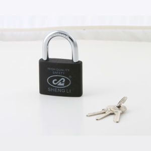 New Type Painted Plastic Iron Padlock with Half Brass Cylinder pictures & photos
