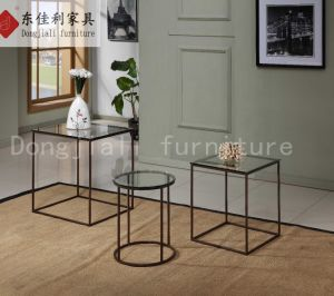 Black Steel Frame with Clear Tempered Glass Side Table pictures & photos