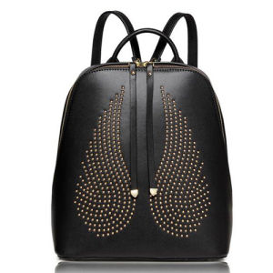 Fashion Designer Wings Studded Leather Backpack Travel Bag Ladies Bags Emg4869 pictures & photos