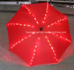 Outdoor Rain Straight Gift Umbrella with LED Light on Ribs pictures & photos