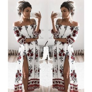 Women Vintage Strappy Waist Floral Print Casual Dress (A125) pictures & photos