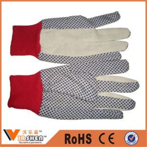 China 6 Oz Twill Cotton Knitted Cheap PVC Dotted Work Gloves pictures & photos
