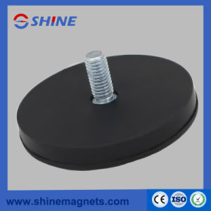 D88mm M8 Neodymium Pot Magnet with Rubber Coated with Threaded Rod pictures & photos
