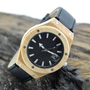 Black Leather Band Wooden Watch pictures & photos