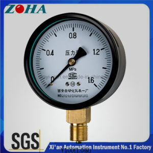 Accuracy 1.0% Black Steel Case Normal Pressure Gauge with Brass Connector pictures & photos