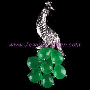 Elegant Green Jade Peacock 18kgp Bead Brooch (PZ015)