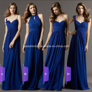 Navy Blue Chiffon Party Prom Evening Gowns Cap Sleeves Long Bridesmaid Dress A9 pictures & photos