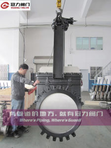 Dn1200 Knife Gate Valve with Bevel Gear pictures & photos