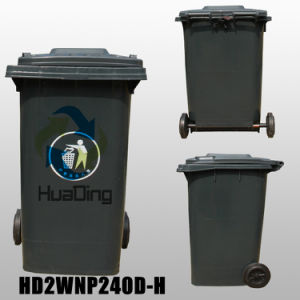 240L Plastic Garbage Bin Rubber Wheel for Outdoor pictures & photos