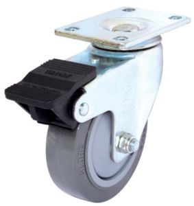 Swivel PU Caster with Dual Brake (Gray) (Flat Surface) pictures & photos