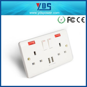 UK 2gang 2way USB Wall Socket with Switch LED Light pictures & photos