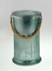 New Design Glass Candle Cylinder with Hemp Rope for Chiristmas pictures & photos