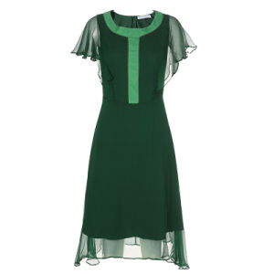 Green Silk Dress for Women with Contrast Color Collar&Front Fly pictures & photos