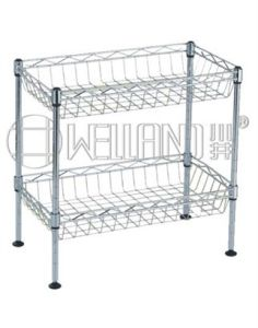 2 Tiers Mini Chrome Kitchen Home Storage Basket Rack (BK452545C2) pictures & photos