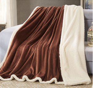 Winter Blanket Sr-B170212-54 Solid Flannel with Sherpa Blanket pictures & photos