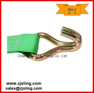 "100mm Wire Hooks Ratchet Lashing Strap 4"" X 30′ Green pictures & photos"