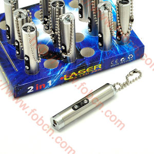 Stainless Steel Laser Pointer and LED Keychain (0302 77502 809)