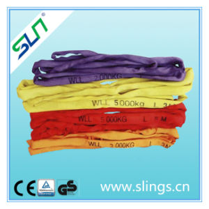 2017 5t*8m Synthetic Flat Webbing Sling with Double Eye pictures & photos