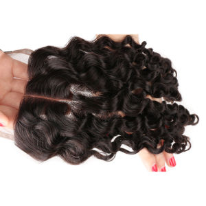 Three Part Lace Closure Bleached Knots Jk Natural Black Peruvian Virgin Human Hair Body Wave 3 Part Top Lace Closure Clearance pictures & photos