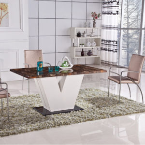 Modern Chinese Home Glass Metal Leather Dining Room Furniture (ET49 & EC50)