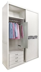 Bohemia Modern Bedroom Furniture White Wood Wardrobe with Mirror (CA01-01) pictures & photos