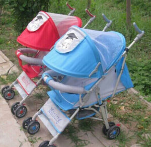 Baby Stroller Blue and Red Color with Brake