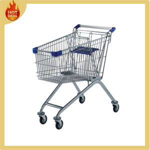 High Quality 4 Wheels Steel Grocery Supermarket Shopping Cart for Sale pictures & photos