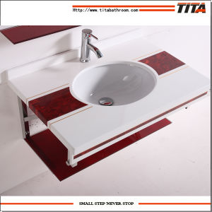 Bathroom Countertop Undermount Sinks/Aluminum Glass Cabinet Stand/Glass Wash Basin Sink Rectangular T-6 pictures & photos