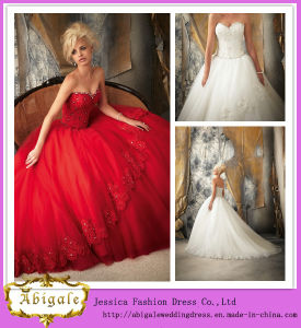 2014 Beautiful White Sweetheart and Sleeveless Ball Gown Floor Length Appliqued Beading Tulle Wedding Dress 2014 (HS073)