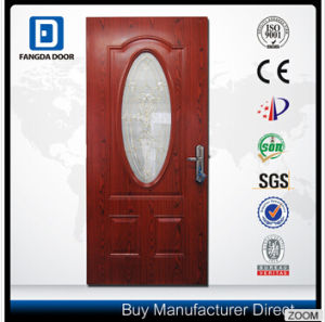 Decorative Small Ovall Tempered Glass Interior Wooden Look Steel Door pictures & photos