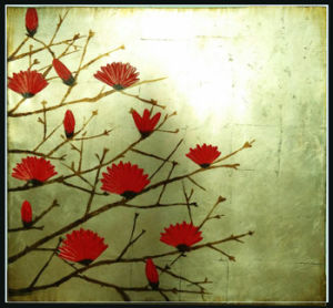 Modern Abstract Red Albizia Julibrissin Flowers Oil Painting (LH-012000) pictures & photos