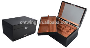 Custom Large Wooden a Set Jewelry Storage Box with Standing Mirror