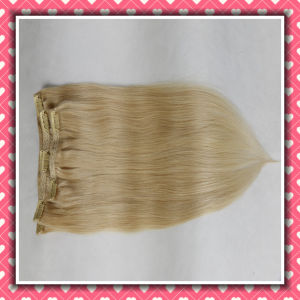 Brazilian Clip-on Human Hair Extension Blonde Silky 16inches pictures & photos
