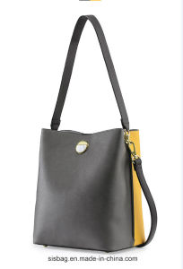 New Simple Bump Color PU Bucket Bag Two-Tone Lady Handbag pictures & photos