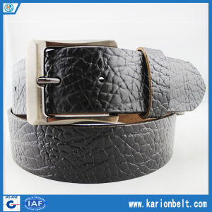 New Fashion Embossed Glass Pattern Split Leather Jeans Belt (40-13127)