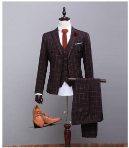 2017 Customized Double Breasted Brown Check Suits Groomsman Wedding Plaid Tuexdos Plaid Ternos (Coat+Pants+Vest) Ms05 Smoking Casamentos