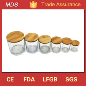 350ml Glass Wholesale Frosted Candle Jars with Wooden Lids Custom pictures & photos