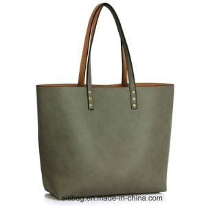 Stylish Nude Grab Shoulder Bag PU Shopping Tote Reversible Handbag pictures & photos