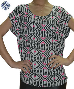 Ladies Sleeveless Printed Chiffon Shirt Blouse (BS-77)