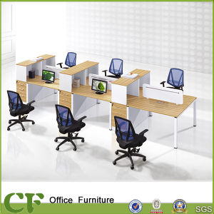 Modular Office Linear 6 Person Office Workstation with Metal Legs pictures & photos