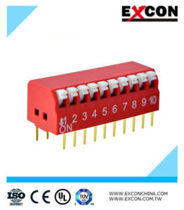 Factory Supply 10pin Type DIP Switch/Slide Switch Excon Rpl-10-R