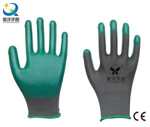 13G Gray Polyester Shell Green Nitrile Coated Safety Work Gloves (N6021) pictures & photos